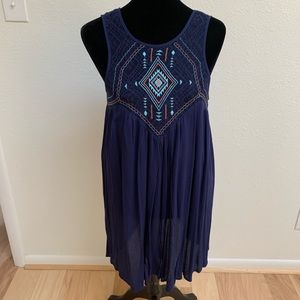 Blu Pepper Navy Embroidered Sleeveless Dress